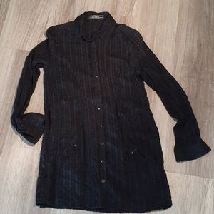 Black buttoned tunic with pockets - womens small